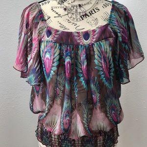 Peacock Print Sheer Blouse by Twenty One